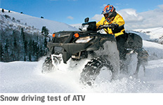 Snow driving test of ATV