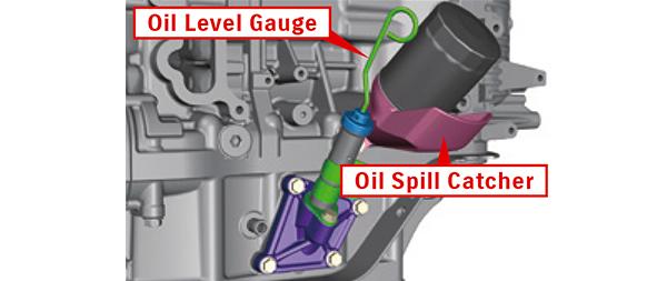 Oil spill catcher & oil level gauge